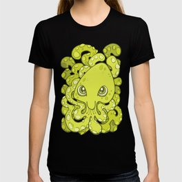 Happy Octopus Squid Kraken Cthulhu Sea Creature - Lime Punch Green T-shirt