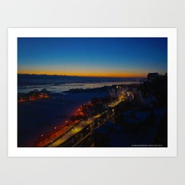 Contrast at Dusk/Clear Sky and Lake Effect (Chicago Sunrise/Sunset Collection) Art Print