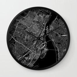 Montreal Black Map Wall Clock