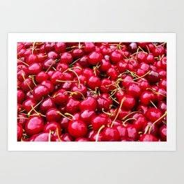 Fresh and delicious fruity red cherries fruit food pattern Art Print