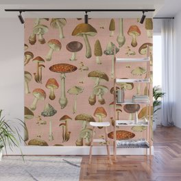 Mushrooms pink Wall Mural