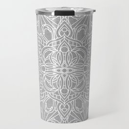 White Mandala on Grey Linen Travel Mug