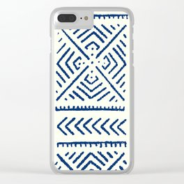 Line Mud Cloth // Ivory & Navy Clear iPhone Case