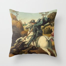Saint George and the Dragon Oil Painting By Raphael Throw Pillow