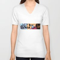 calendars V-neck T-shirts featuring Pop Art Pin-Up girl in the car shop wall by Sofia Youshi