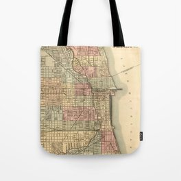 Vintage Map Of Chicago Tote Bag