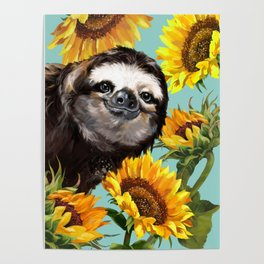 Sloth with Sunflowers Poster