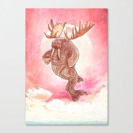 Space Walrus on Moon Patrol Canvas Print