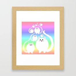 Fluffy cloud cats and rainbow! Framed Art Print