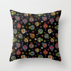 Sugar Skulls on Black Throw Pillow