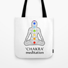 Woman in meditation with the seven chakras and its respective colors Tote Bag