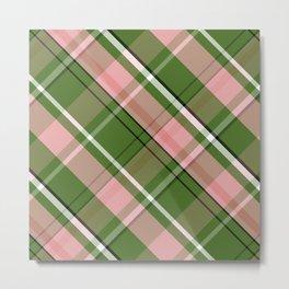 Pink and Green Preppy Plaid Metal Print