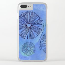 Blue Sea Urchin Clear iPhone Case