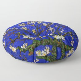 Abstract Daisy with Blue Background Floor Pillow