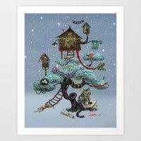 christmas tree Art Prints featuring Christmas Tree by Anna Shell