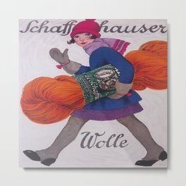 Girl With Giant Skein of Yarn Metal Print