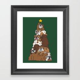 Christmas Tree English Bulldog Framed Art Print