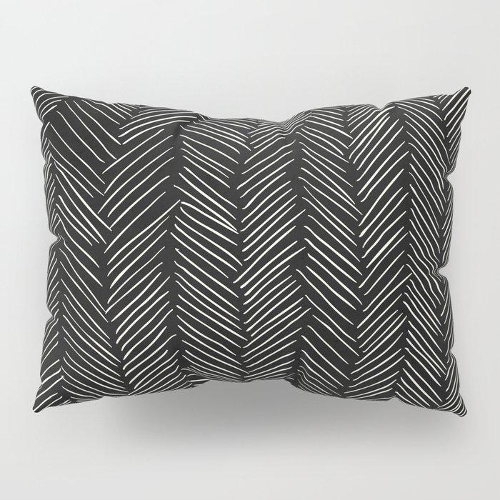 Herringbone Cream on Black Pillow Sham