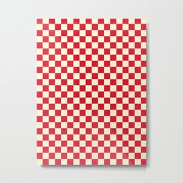 Cream Yellow and Crimson Red Checkerboard Metal Print