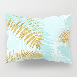 Aloha - Tropical Palm Leaves and Gold Metal Foil Leaf Garden Pillow Sham