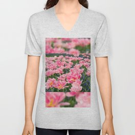 Blue forget-me-nots with pink tulips mix Unisex V-Neck