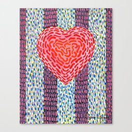 High Energy Squiggle Heart - Impressionist Heart Art Canvas Print