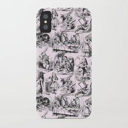 Alice in Wonderland | Toile de Jouy Pattern | Black | Pink | Vintage Pattern | Victorian Gothic | iPhone Case
