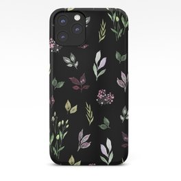 Tiny watercolor leaves pattern iPhone Case