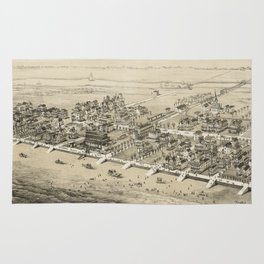 Vintage Pictorial Map of Sea Isle City NJ (1885) Rug