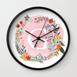 Flower Wreath with Personalized Monogram Initial Letter G on Pink Watercolor Paper Texture Artwork Wall Clock