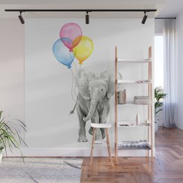 Baby Elephant with Balloons Nursery Animals Prints Whimsical Animal Wall Mural