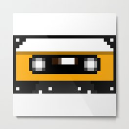 Yellow Cassette Metal Print