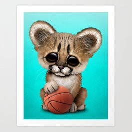 Cougar Cub Playing With Basketball Art Print