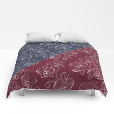 Retro . Orchid flowers on a red and blue background . The combined pattern . Comforters
