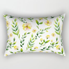 Modern hand painted yellow green watercolor spring flowers Rectangular Pillow
