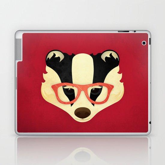 Hipster Badger: Red Laptop & iPad Skin