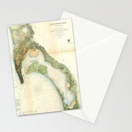 Vintage Map of The San Diego Bay (1857) Stationery Cards