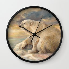 Polar Bear Rests On The Ice - Arctic Alaska Wall Clock