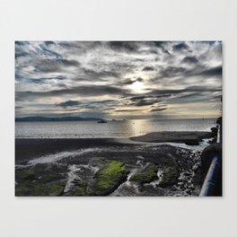 Cloudy Paignton Beach Canvas Print