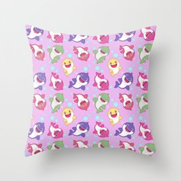 Baby Shark Doo Doo Family - Pink Pastel Version Print Throw Pillow