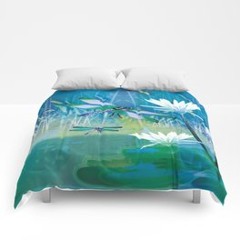 Dragonfly and Blue Pond Comforters