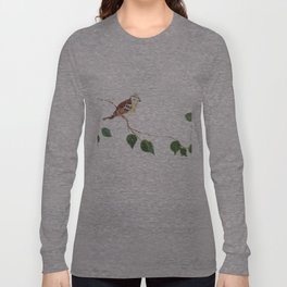 Bird painted on wood Long Sleeve T-shirt
