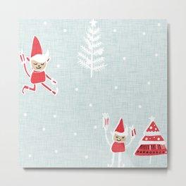 Santa Elf Blue Red  #Christmas #holiday Metal Print