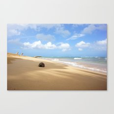 Loquillo Beach Photography - Turquoise Ocean, Blue Sky, Warm Golden Sand Canvas Print