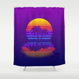 Synthwave Space #15: Twilight horizon (pixelart) Shower Curtain