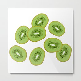 Kiwi Slices Metal Print