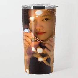 Woman Through String of Lights Travel Mug