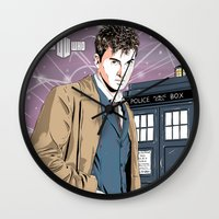david tennant Wall Clocks featuring Doctor Who - David Tennant by Averagejoeart