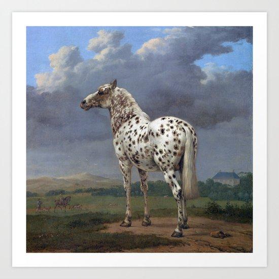The horse blanc noir  Art Print