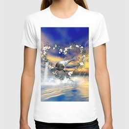 Dolphin jumps by a heart T-shirt